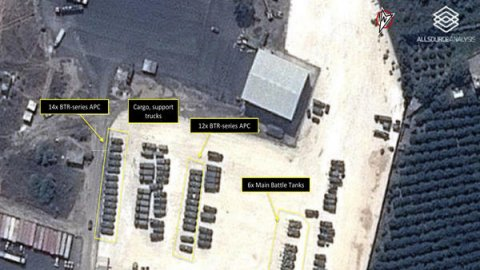 A Sept. 15 satellite image shows Russian tanks and armored personnel carriers at an air base in Latakia province, Syria. The annotations were provided by GeoNorth and AllSource Analysis.