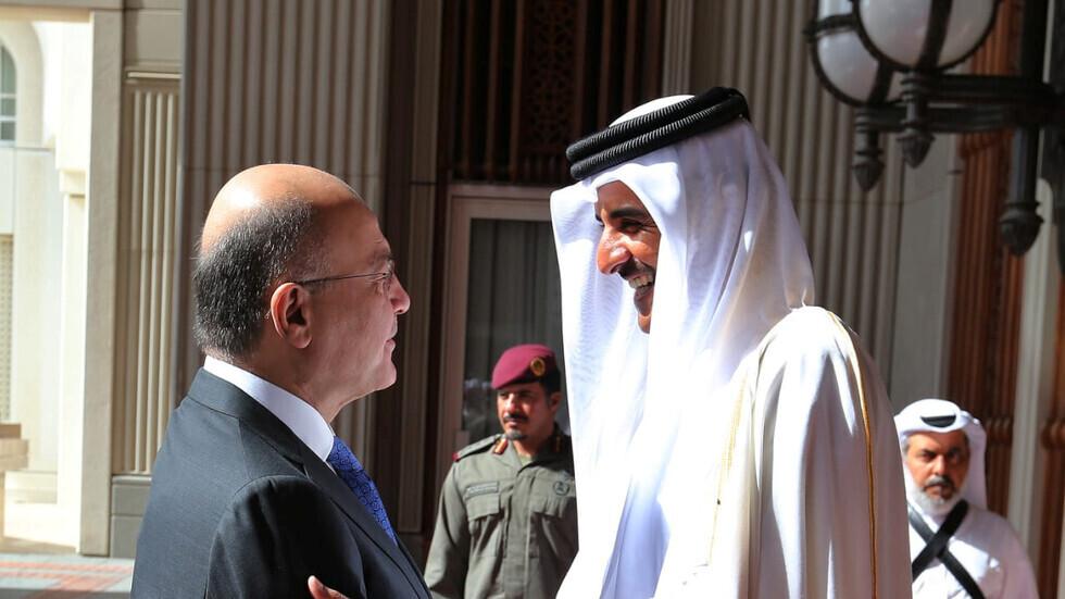 """بعد زيارة """"آل ثاني"""" لإيران.. رئيس العراق يبلغ أمير قطر معلومات مهمة"""