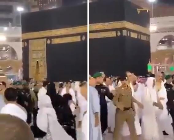 انتشار للأمن السعودي في المسجد الحرام وإبعاد المعتمرين.. قائد عسكري يصعد إلى الكعبة (فيديو)