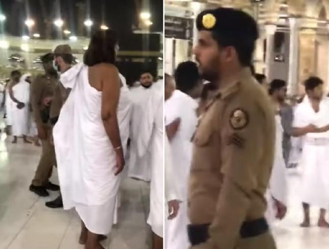 """حادثة صادمة تهزّ المسجد الحرام.. امرأة بـ""""ملابس فاضحة"""" بجوار الكعبة والأمن يحاصرها (فيديو)"""