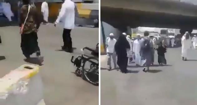 حجاج حفاة يهربون نحو المسجد الحرام للاحتماء.. وشباب سعوديون يلاحقونهم بشوارع مكة (فيديو)