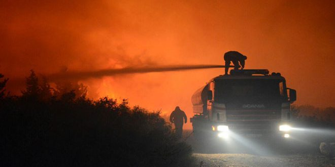 حريق ضخم في منطقة بشار الأسد (فيديو)