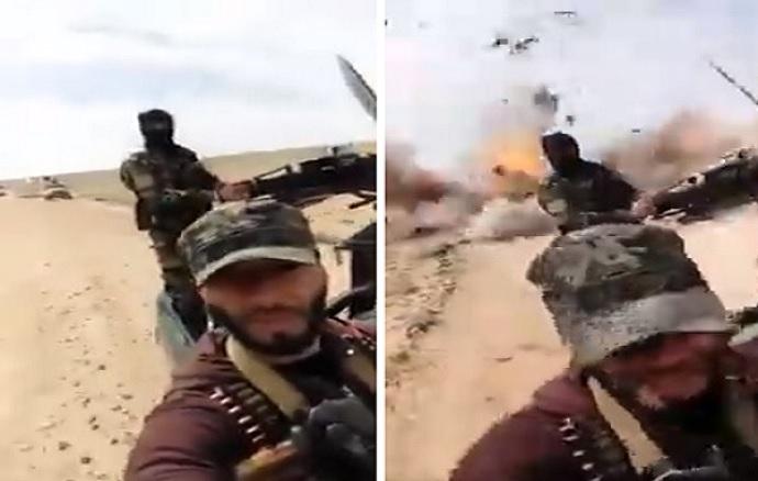 """عنصر بـ""""قوات الأسد"""" يتفاخر برتلهم العسكري ويردَّد """"الله والجيش السوري"""" فيفاجئ بتطاير أشلاء زملائه (فيديو)"""