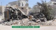 آثار الدمار في بلدة أورم الكبرى بريف حلب الغربي بسبب قصف الطيران الروسي للبلدة يوم أمس