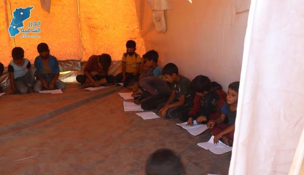 خيمة بديل عن المدرسة لـ 125 طفل في مخيم عدوان