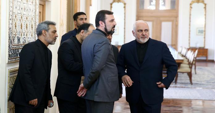 جواد ظريف مع رئيس الوزراء العراقي مصطفى الكاظمي