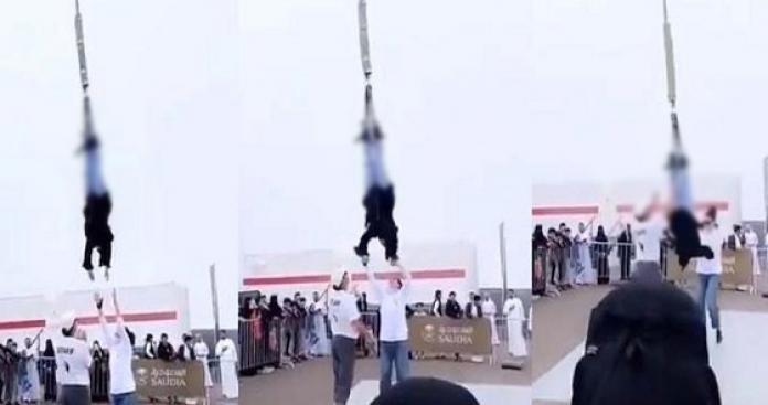 شاهد: فتاة سعودية تثير جدل واسع بعد تعلقها بحبل في لعبة هوائية (فيديو)