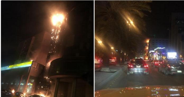 شاهد.. حريق ضخم يثير الذعر في الرياض