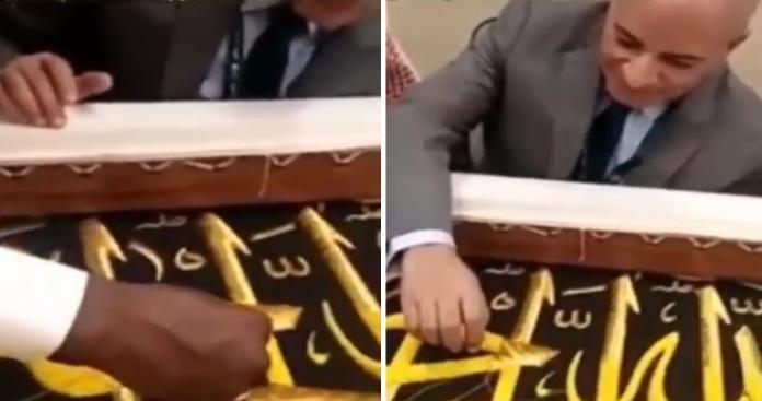 فيديو صادم.. إعلامي شتم السعودية وهاجم محمد بن سلمان يشارك في كتابة آية على كسوة الكعبة