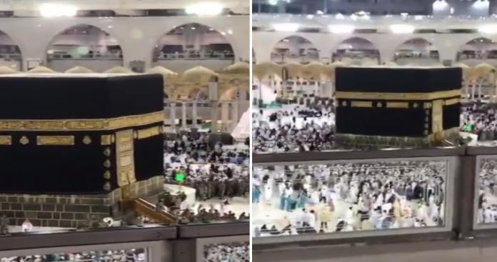 أمير سعودي في المسجد الحرام بحراسة مشددة.. تطويق وصعود الكعبة (فيديو)