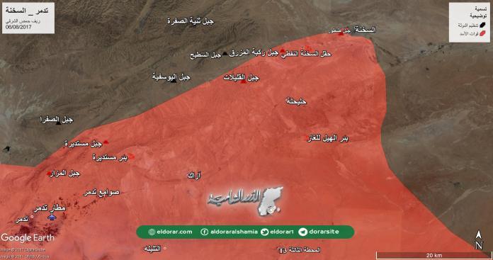 احتدام المعارك على مشارف مدينة السخنة وقوات الأسد تحاصرها من 3 اتجاهات
