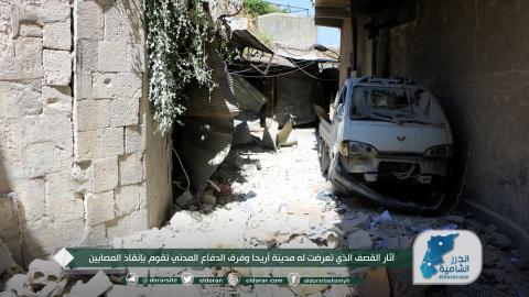 آثار القصف الذي تعرضت له مدينة أريحا وفرق الدفاع المدني تقوم بإنقاذ المصابين