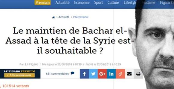 """مفاجأة في استطلاع """"لوفيغارو"""" الفرنسية حول بقاء """"الأسد"""""""